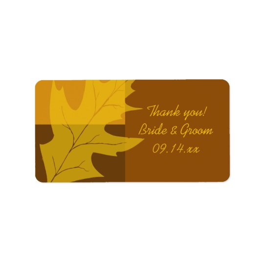Fall Leaf Colour Block Wedding Thank You Favour Address Label