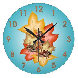 Fall Leaf Fae Triplets Large Clock