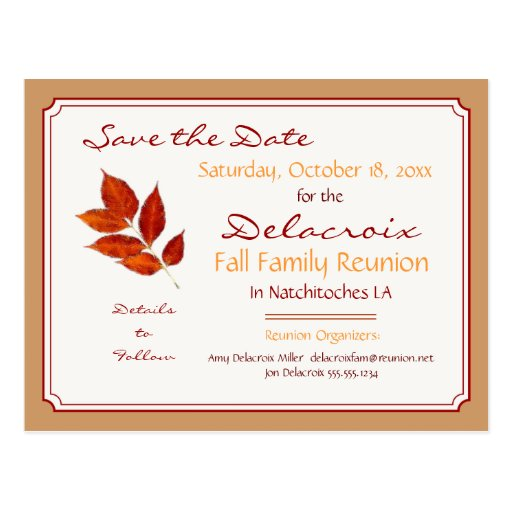 Fall Leaf Family Reunion, Party Save the Date Post Cards