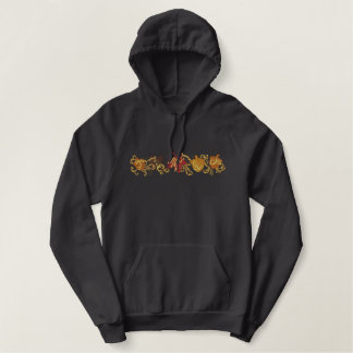 Fall Leaf Filigree Embroidered Pullover Hoodie