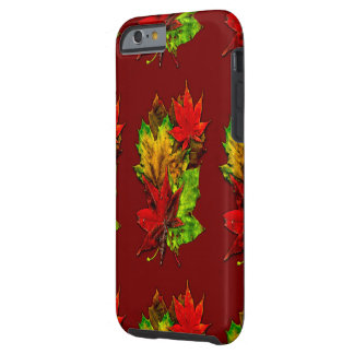 Fall Leaf Impact Resistant iPhone 6 case over Red Tough iPhone 6 Case
