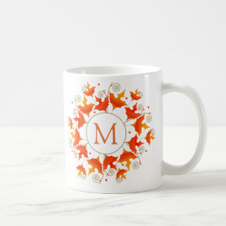 Fall Leaf Monogram Coffee Mug