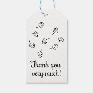 Fall Leaf Thank You Black & White Leaves Party Gift Tags