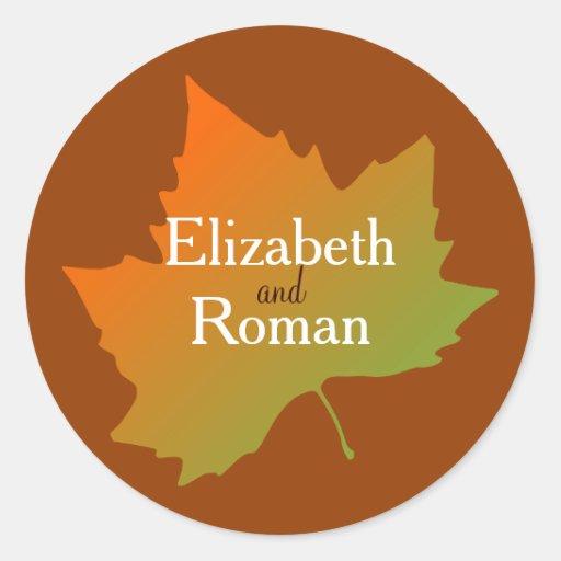 Fall Leaf Wedding Stickers