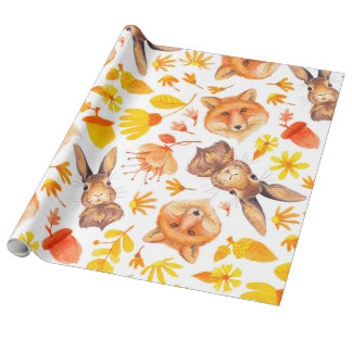 Fall Leafs Foxes & Bunnies Pattern Wrapping Paper