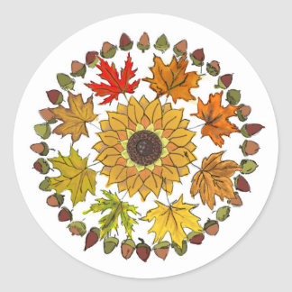 Fall Leaves and Acorn Round Sticker