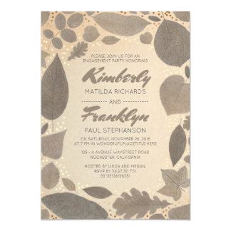 Fall Leaves and Gold Confetti Engagement Party 13 Cm X 18 Cm Invitation Card