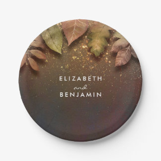 Fall Leaves and Gold Glitter Wedding Paper Plate