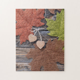 Fall Leaves and Hearts Jigsaw Puzzle