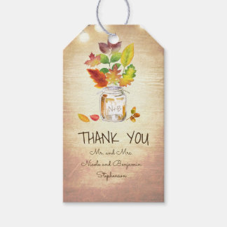 Fall Leaves and Mason Jar Rustic Country Wedding Gift Tags