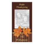 Fall Leaves and Stripes Thanksgiving Photo Card