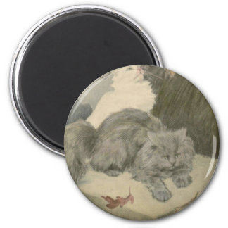 Fall Leaves and Two Cats Artwork 6 Cm Round Magnet