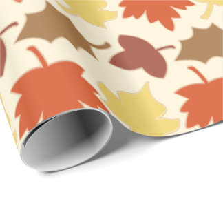 Fall Leaves Autumn Leaf Pile Oak Brown Maple Tree Wrapping Paper