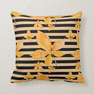 Fall Leaves Black Stripes Cushion