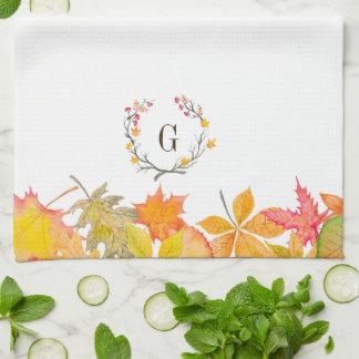 Fall Leaves Branch Wreath Monogram Tea Towel