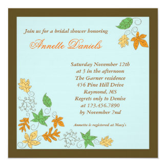 Fall Leaves Bridal Shower Invitation