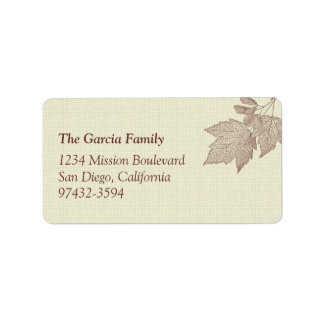 Fall leaves brown canvas texture return or mailing address label