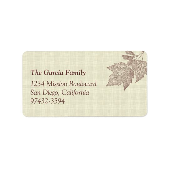 Fall leaves brown canvas texture return or mailing label