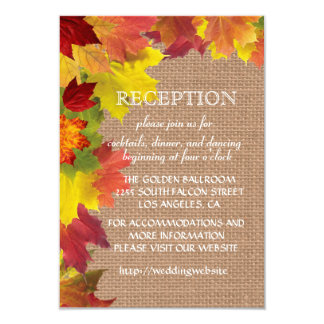 Fall Leaves Burlap Wedding Reception Enclosure 9 Cm X 13 Cm Invitation Card