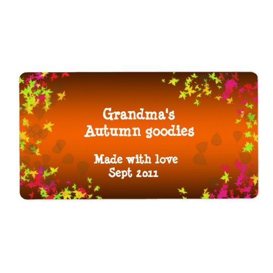 fall leaves canning shipping label