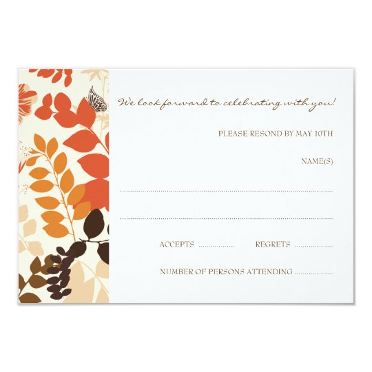 Fall Leaves Collage RSVP Card Wedding
