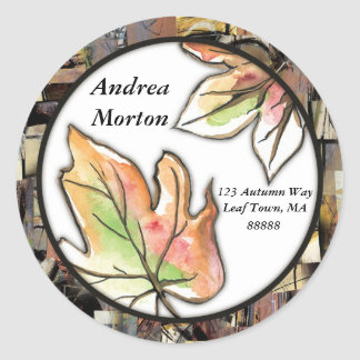 Fall Leaves Collage Round Sticker