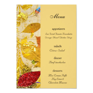 Fall Leaves Collage Wedding Menu 5x7 Paper Invitation Card