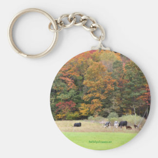 Fall Leaves Cows Field Nature Photography Keychain