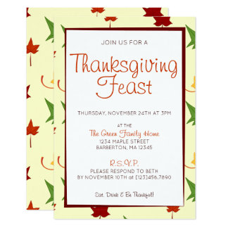 Fall Leaves:  Customised Thanksgiving Invitation