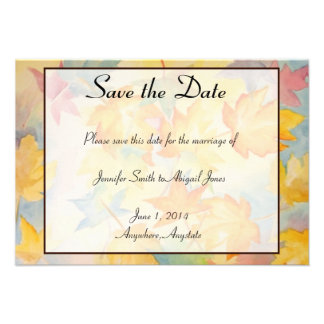 Fall Leaves Gay Wedding Save the Date Personalized Announcements