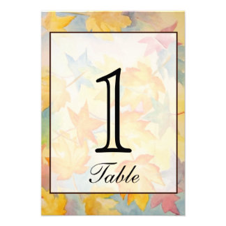 Fall Leaves Gay Wedding Table Number Personalized Invitation