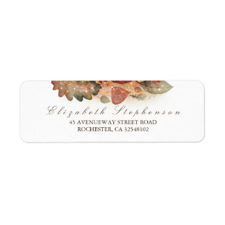 Fall Leaves Glitter White Return Address Label