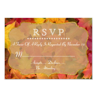 Fall Leaves Gold Foil Wedding RSVP 9 Cm X 13 Cm Invitation Card