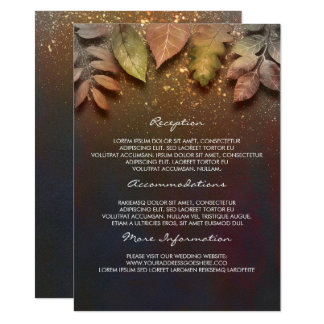 Fall Leaves Gold Wedding Information Guest Card