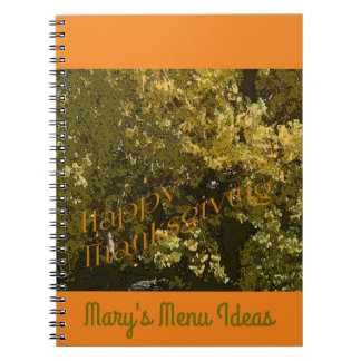 Fall Leaves Happy Thanksgiving Menu Planner Spiral Notebook