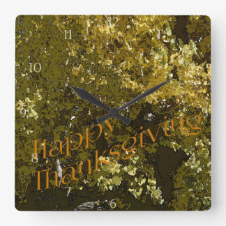 Fall Leaves Happy Thanksgiving Square Wall Clock