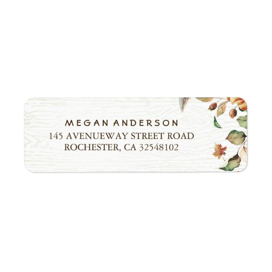 Fall Leaves Harvest Wedding Return Address Label