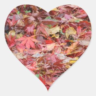 Fall Leaves Heart Sticker