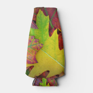 Fall Leaves in yellow, red, orange and Purple Bottle Cooler