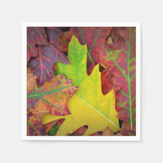 Fall Leaves in yellow, red, orange and Purple Paper Napkins