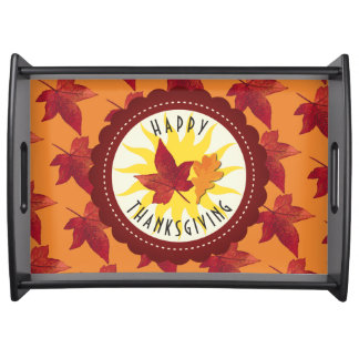 Fall Leaves Maple Thanksgiving Serving Tray