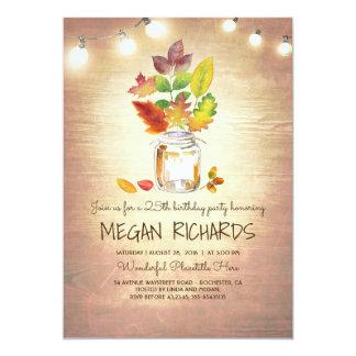 Fall Leaves Mason Jar Rustic Birthday Party Card