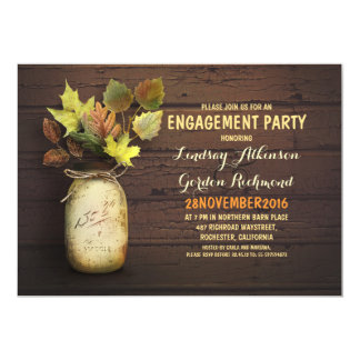 Fall leaves mason jar rustic engagement party card