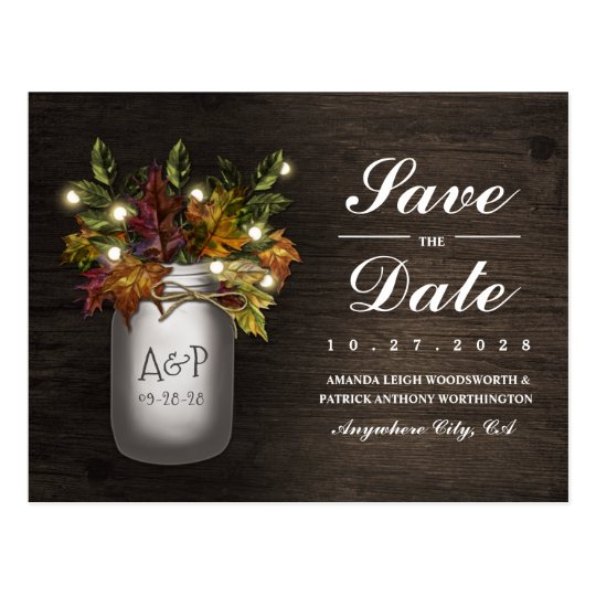 Fall Leaves Mason Jar Rustic Save The Date