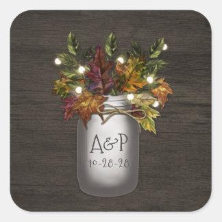 Fall Leaves Mason Jar Rustic Wedding Favor Square Sticker