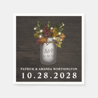 Fall Leaves Mason Jar Rustic Wedding Napkins Disposable Serviette