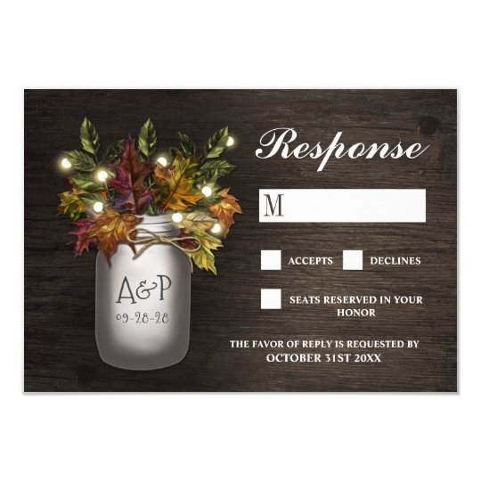 Fall Leaves Mason Jar Rustic Wedding RSVP Cards