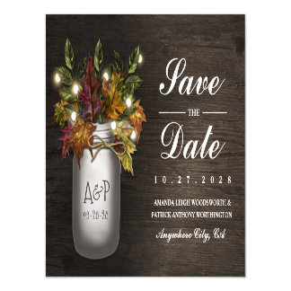 Fall Leaves Mason Jar Save the Date Magnets Magnetic Invitations