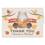 FALL LEAVES MASON JAR WEDDING THANK YOU NOTE CARD