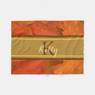 Fall Leaves Monogram Blanket